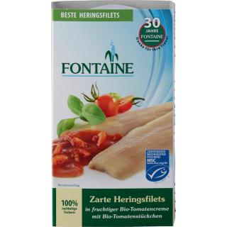 Heringsfilets in Bio-Tomatencreme m. Tomatenstück.