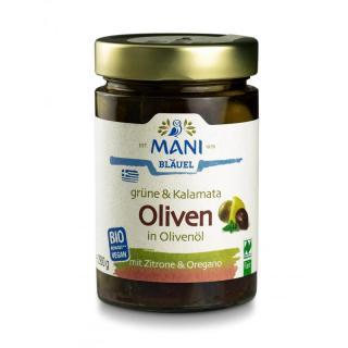 Grüne&Kalamata Oliven m. Kräutern in Olivenöl,Bio, 280g